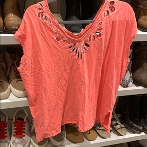 Free people neon coral top size XS